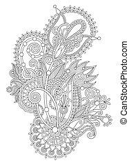 trad, desenhar, flor, arte, ukrainian, mão, ornate, linha,...