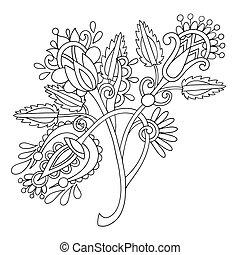 trad, empate, flor, arte, ucranio, mano, florido, línea,...