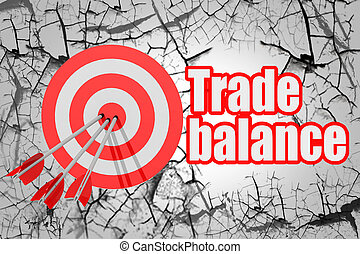 Trade balance word with red arrow and board