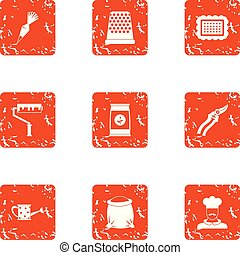 Trade day icons set, grunge style - Trade day icons set....