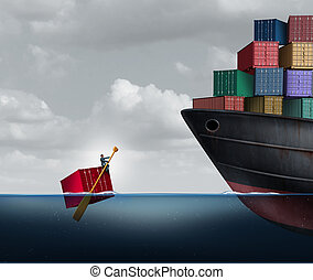 Trade Deficit - Trade deficit business concept as a freight...