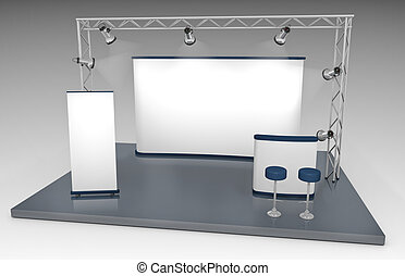 Blank trade exhibition stand with screen, counter, roll-up banner and lights