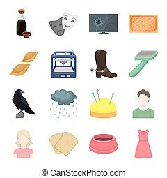 trade, hobbies, ecology and other web icon in cartoon style.dog, dress, fabric icons in set collection.