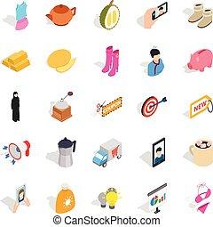 Trade icons set, isometric style - Trade icons set....