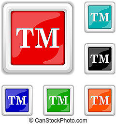 Trade mark icon - Square shiny icons - six colors vector set...