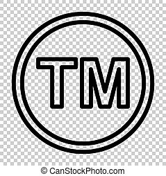 Trade mark sign. Line icon on transparent background
