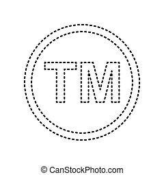 Trade mark sign. Vector. Black dashed icon on white...