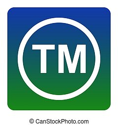 Trade mark sign. Vector. White icon at green-blue gradient...