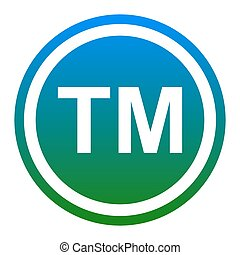 Trade mark sign. Vector. White icon in bluish circle on...