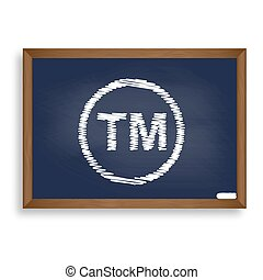 Trade mark sign. White chalk icon on blue school board with...