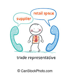 trade representative   talking on the phone with a supplier and a point of sale