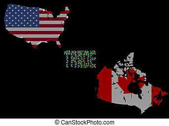 Trade text with USA and Canada map flags