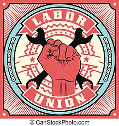 Trade Union conceptual retro illustration