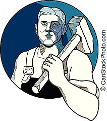 Trade Unionist With Hammer Drawing