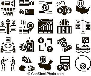 Trade War Business Glyph Set Vector