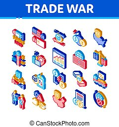 Trade War Business Isometric Icons Set Vector