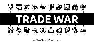 Trade War Business Minimal Infographic Banner Vector