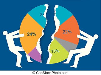 Trade war, market share concept - Illustration of two male...