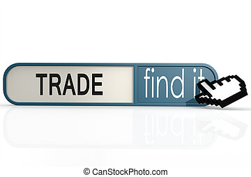 Trade word on the blue find it banner