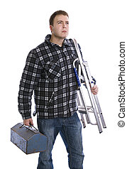 trademan holding toolbox and ladder