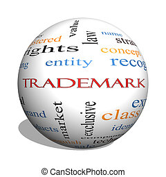 Trademark 3D sphere Word Cloud Concept