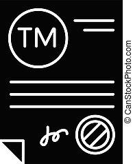Trademark certificate black glyph icon. Certification mark. ...