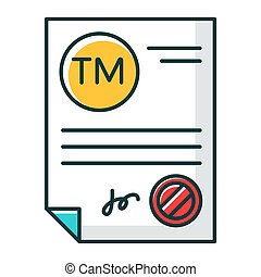 Trademark certificate RGB color icon. Certification mark. ...