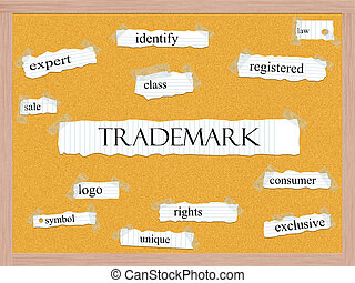 Trademark Corkboard Word Concept with great terms such as...