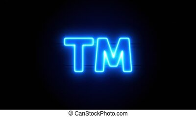 Trademark neon sign appear in center and disappear after some time. Animated blue neon icon on black background. Looped animation.