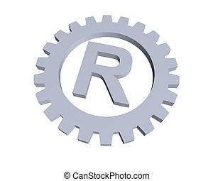 trademark - Registered trade mark symbol in gear wheel - 3d...