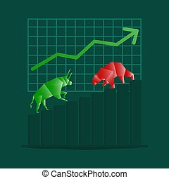 Trader and investor, Bull and Bear Concept vector Illustratons