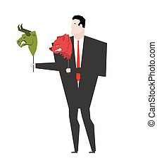 Trader and mask Green Bear and Red Bull. Player on stock exchange