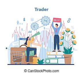 Trader, financial investment concept. Stock market analysis.