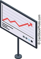 Trader graph banner icon, isometric style