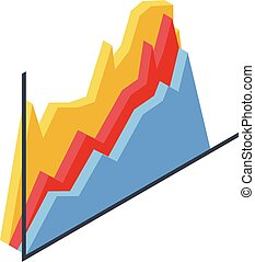 Trader graph chart icon, isometric style