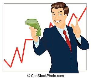 Trader holding bundle of money