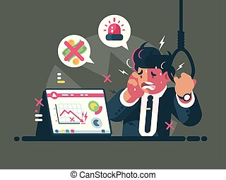 Trader in panic and anxiety. Fall of market and crisis....