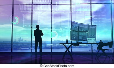 Trader in the big office and stock exchange infographics - ...