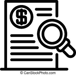 Trader money document icon, outline style
