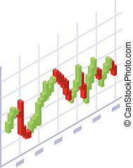 Trader red green graph icon, isometric style