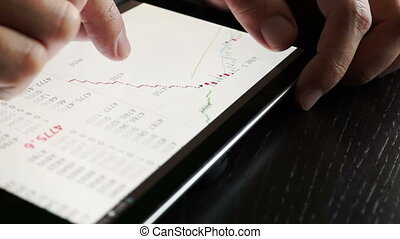 Trader using tablet for checking stock data. Close up.
