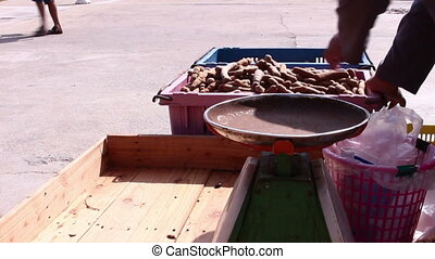Traders are selling tamarind in market