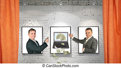 traders with cool money notebook on three frames on brick wall and draperies collage, our notebook for ages