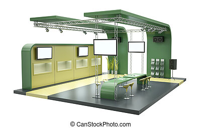 Tradeshow stand - Empty trade exhibition stand isolated on ...