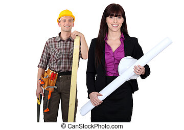 Tradesman admiring a female engineer from afar