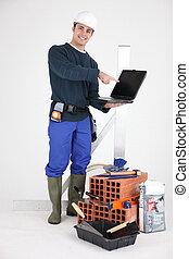 tradesman, apontar, seu, novo, laptop