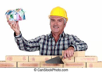 tradesman, atrasando, um, casa, modelo, entenda, de, dinheiro