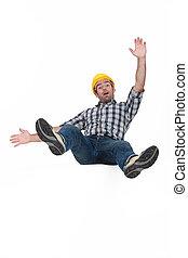 Tradesman falling through the air