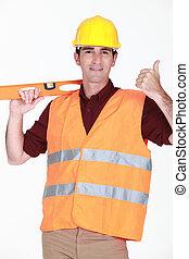 Tradesman giving the thumb's up