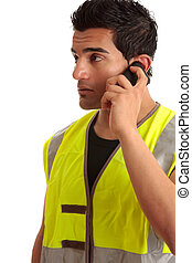 Tradesman handyman on the phone